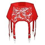 Slocyclub Damen Strapsgürtel mit 7 Straps Metallclip Strapsgürtel für Strümpfe/Dessous(Rot,L)