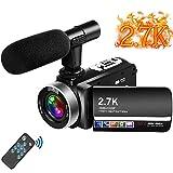 """Videokamera 2.7K Camcorder mit Mikrofon 30MP Vlogging Kamera mit drehbarem 3.0 """"Touchscreen Zeitraffer Camcorder und Webcam"""