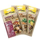 GimDog Superfood Meat Snacks Hühnchen Mixpack - Mono-Protein Hundeleckerli mit hohem Fleischanteil - 3er Mix-Beutel (1xBalls, 1xCubes, 1xBones)