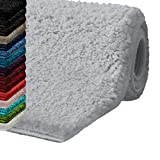 Badematte Hochflor Sky Soft | Weicher, Flauschiger Badezimmerteppich in Shaggy-Optik | Badvorleger rutschfest waschbar | schadstoffgeprüft | 16 Farben in 6 Größen (60x100 cm, Silbergrau)