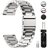 Fullmosa Edelstahlarmband für Uhr,Metall Uhrenarmbänder mit Schnellverschluss geeignet für Damen&Herren, 16mm Silber