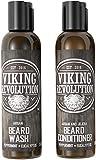 Viking Revolution Bartshampoo und Conditioner - Bartpflege Set - Pflegeprodukte für Männer mit Argan und Jojobaölen - ca. 150 ml