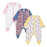 TupTam Baby Mädchen Schlafstrampler mit Fuß 3er Pack, Farbe: Farbenmix 1, Größe: 68