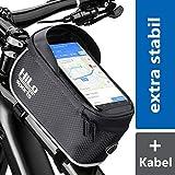 Rahmentasche Fahrrad für Smartphone am Oberrohr - Rad Oberrohrtasche wasserabweisend - Handy Fahrradtasche Rahmen - Oberrohr Fahrradtasche Mountainbike