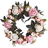 Pauwer Deko Kranz Wandkranz Handgefertigt Kranz Für Outdoor Türkranz Rose Rebe Blumenkranz Künstliche Dekorative Landschaftsbau Kranz (Pinke Rose, Durchmesser 35cm)