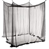 Qucover Baldachin aus Polyester, Schöner Betthimmel, Größe Mückennetz, Moskitonetz für Doppelbett (Schwarz)