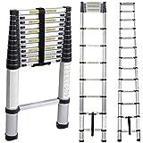 Teleskopleiter Haushaltleiter 3,8M tragbar faltbar Leiter aus Aluminium Dachbodenleiter Mehrzweckleiter KS-JF-001