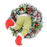 Weihnachtsgirlande, Türkranz Herbst,Weihnachtsdieb Stahl Weihnachts-Sackleinen-Kranz, Adventskranz,Wie der Grinch Weihnachts-Sackleinen-Kranz Stahl, für Wohnzimmer Wandfenster,1STK (F)