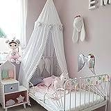 Tyhbelle Baldachin mit kleinen Bommeln Betthimmel Kinder Bett Baumwolle Hängende Moskiton für Schlafzimmer Höhe 240 cm Saumlänge 270cm (Weiss( mit Bommeln))