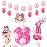 SPECOOL 32 Inch Geburtstag Mädchen Krone Geburtstagskrone Mehr Luftballon Geburtstag Baby Princess Crown 1st Baby Geburtstag Hut Mit Goldenen Flash Piece Rose Dekorationen für 1 Jahr altes Baby Girl