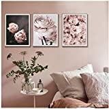 Cqzk Moderne Romantik Hellrosa Pfingstrosen Blumen Leinwand Gemälde Galerie Poster Drucke Wandkunst Bilder Schlafzimmer Innen Home Decor40x50cmx3 / kein Rahmen