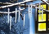 AMARE Eiszapfenlichterkette mit 80 LED (10 Eiszapfen à 8 LED) kaltweiß mit Schneefalleffekt Länge 3,6 m (zzgl. 10 m Zuleitung), CE + GS geprüft, für den Innen- und Außenbereich, Timer