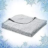 Elegear 2in1 Mikrofaser Selbstkühlende Decke, Kühldecke Arc-Chill Kuscheldecke aus Baumwolle Weiche Wohndecke Warm Sofadecke Reisedecke zweiseitige Decke für Erwachsene und Kinder - Grau 220 x 200 cm