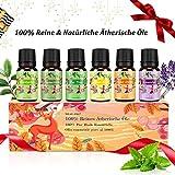 Aromatherapie Ätherische Öle Geschenkset für Diffuser - 100% Pure Aroma Duftöle - Teebaumsöl, Lavendelöl,Pfefferminzöl, Eukalyptusöl, Zitronengrasöl, Süßorangeöl - Therapeutic-Grade Essential Oils