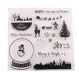 BESTOYARD Silikonstempel Set Schneekugel Weihnachtsdorf Muster Transparente Briefmarke DIY Handwerk Scrapbooking Dekorieren