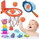 Joyjoz Badespielzeug Baby Badewannenspielzeug Wasserspielzeug 25 Stück Basketballkorb Kinder Stapelbecher Baby Badewanne Geschenke für Kinder