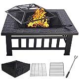 Aufun Feuerstelle mit Grillrost 81x81x45cm - 3 in 1 Multifunktional Feuerschale für Heizung/BBQ- Quadratisch Metall Feuerkorb mit wasserfeste Schutzhülle