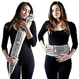 Die lange Wärmflasche. Das Original von YUYU. 4-6 Stunden warm, umweltfreundlich, mit praktischem Riemen zum umbinden, Fleecebezug, grau, 75 cm extra lang