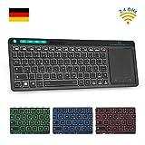 Rii K18 Plus Kabellose TV-Tastatur, Wireless Touchpad Tastatur, beleuchtet Tastatur mit 3 LED Hintergrundbeleuchtung für Smart TV/Laptop/Mac/PC/Android TV (Deutsch Layout,Schwarz)