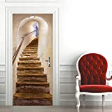 ZDDBD Türtapete Selbstklebend Türposter Fototapete Poster Tapete Treppe PVC 3D Türaufkleber Selbstklebend DIY Türbild 90 * 200Cm