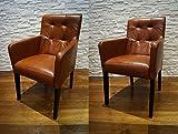 Quattro Meble Echtleder Esszimmerstühle Massivholz Stühle David Arm Pik Lederstühle Sessel mit Armlehnen Echt Leder Antique Tabac Esszimmer Stuhl