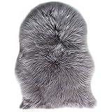 TIDWIACE® Grau Faux Lammfell Schaffell Teppich Longhair Fell Nachahmung Wolle Bettvorleger Sofa Matte 60 x 90 cm Lammfellimitat Teppich