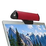 GOgroove USB Clip-On Lautsprecher: Portable 2.0 Laptop/PC Soundbar zum Anklemmen am Computer & zusätzlichem Tischständer, Single USB-Kabel für Audio & Power, ideal für unterwegs, Rot