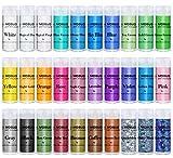 MOSUO Epoxidharz Farbe Mica Pulver, 30 Farben Seifenfarbe Set Pigmente Pulver(5g), Metallic Farben Schimmern Sie Glitter Powder, Farbpulver für Seifen Slime Malerei Kosmetik DIY Resin