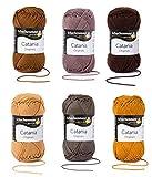 Schachenmayr Catania Wolle 6x50 Gr., 100% Baumwolle (Braun Mix)