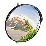 Relaxdays Verkehrsspiegel 45 cm, professionell, wetterfest, unzerbrechlich, Innen & Außen, inklusive Halterung, schwarz