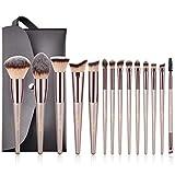 BESTOPE Make Up Pinsel Set mit Leder Tasche Pinselset Kosmetik 14 Stück Professionelles Kosmetikpinsel Schminkpinsel Kabuki Foundation Beauty Tools (Champaign Gold)