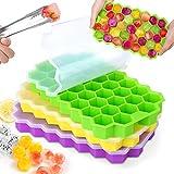 MOSOTECH Eiswürfelform aus Silikon, 3er Pack 37-Fach Eiswuerfel Form, Stapelbar Eiswürfelbehälter Mit Deckel, LFGB Zertifiziert und BPA Frei