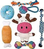 Toozey Welpenspielzeug - 7 STK Langlebiges Hundespielzeug für Welpen/kleine Hunde - Kauspielzeug und Quietschspielzeug mit Wäschesack - Naturbaumwolle & Ungiftig