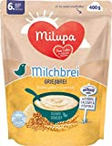 Milupa Milchbrei Grießbrei, miluvit Babybrei, Babynahrung ab dem 6. Monat (4 x 400 g)