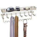 mDesign Hakenleiste für Schmuck - Garderobenleiste mit 19 Schmuckhaken - Satinfarbene Ablage für Diverse Gegenstände - mit Gitterbox