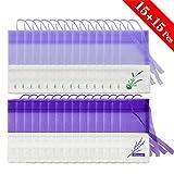 COCOCITY 30 Stück Lavendelsäckchen Leere Beutel Geschenksäckchen Blumendruck Tasche Duftsäckchen mit Kordelzug für Hochzeit, Kleiderschrank, Auto (15,5X 7cm)