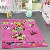 TT Home Eulen Teppich Pink Fuchsia Grün Creme Kinderzimmerteppich mit Konturenschnitt, Größe:120x170 cm