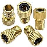 Mobi Lock 5er Pack Presta Ventil Adapter aus Messing, von Presta zu Schrader für Fahrräder und Autos, für Standardpumpen & Luftkompressor, Adapter für Fahrradventil zu Autoventil