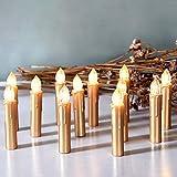 CCLIFE TÜV GS LED Weihnachtskerzen Kabellos RGB Kerzen Bunt Weihnachtsbaumkerzen Christbaumkerzen mit Fernbedienung Timer Kerzenlichter, Farbe:Gold, Größe:20er