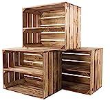 Kontorei® gebrannte/flambierte Obstkiste mit Zwischenboden 50cm x 40cm x 30cm 3er Set Regal Holzregal Kiste Box