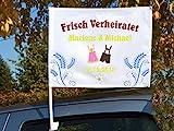 """Autoflagge/Autofahne – bedruckt """"Frisch Verheiratet' mit Ihren Namen und dem Datum"""