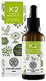 NATURE LOVE® Vitamin K2 MK-7-200µg (50ml flüssig) - Höchster All-Trans Gehalt 99,7% und natürlich fermentiert - Premium: Gnosis VitaMK7 - Hochdosiert, vegan, in Deutschland produziert
