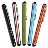 MobiLinyi 5 Stück Premium Eingabestift Touchstift Stylus Pen für Apple iPhone ipad Air Pro Samsung Galaxy Huawei P7 P8 P9 P10 und alle Tablets Smartphones, Farbe: schwarz Gold grün blau orange