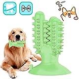 DERU Hundezahnbürste, Zahnbürste Hund, Hunde Zahnpflege Spielzeug, Kaustick aus Naturkautschuk, Hund Kauen Zahnreiniger Welpen Zahnreinigung, für Kleine Hunde Welpe Große Hunde (Grün)