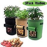 HUOHUOHUO Kartoffel Pflanzsack Pflanzbeutel 10 Gallonen mit Griffen und Sichtfenster Klettverschluss,dauerhaft AtmungsaktivBeutel Gemüse Grow Bag Pflanztasche (7)