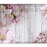 murando Fototapete Blumen 350x256 cm Vlies Tapeten Wandtapete XXL Moderne Wanddeko Design Wand Dekoration Wohnzimmer Schlafzimmer Büro Flur Blume rosa pink Holz Bretter b-A-0202-a-b