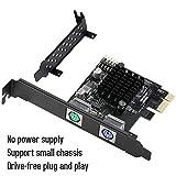 MZHOU PCI Express PS2 Karte,PCIe zu Zwei PS2-Controller-Erweiterungskarte, Sie können PS2-Tastatur, Maus,Drucker, Kartenleser,Kameras,Scanner usw.anschließen.Support-Systeme WIN7/8/10/XP Server 2003