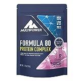 Multipower Formula 80 Protein Complex – Mehrkomponenten Protein Pulver für den Muskelaufbau – Proteinpulver mit Casein für eine langfristige Versorgung – mit cremigem Blaubeere-Geschmack – 510 g