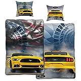 Ford Mustang Bettwäsche Legend Gelb / Blau 135 cm x 200 cm + 80 cm x 80 cm Stang Pony-US-Muscle-Car 100% Baumwolle in Renforcé-Linon-Qualität Shelby GT 2 Motive Wendebettwäsche Reißverschluss 008