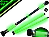 MOONSHINE Profi Devilstick Set (GLOW In The DARK) Holz Devil stick Pro inkl. Holz Handstäbe mit 2 mm Super-Grip Silikon. Devilsticks für Anfänger und Profis.